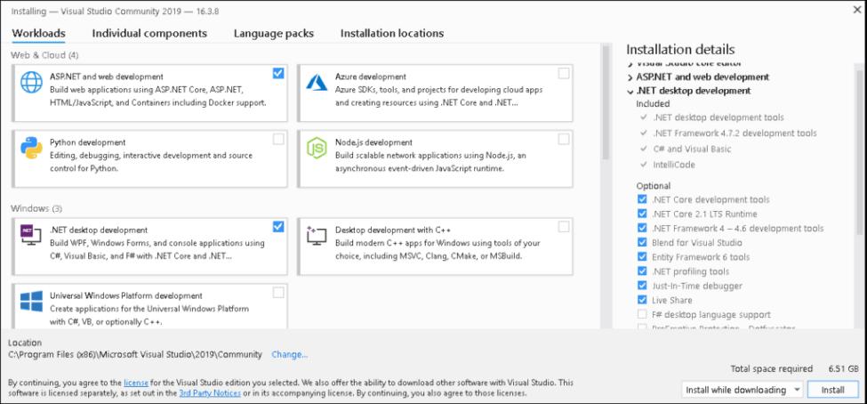 WorkLoads in Visual Studio 2019