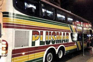 Una unidad de la empresa Plusmar cruzó el cantero central y volcó.