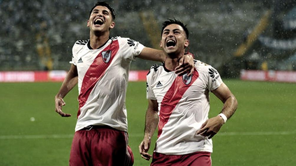 """Gonzalo """"Pity"""" Martínez grita su gol ante Gremio, por el que River pasó a la final en 2018, donde derrotaría a Boca."""