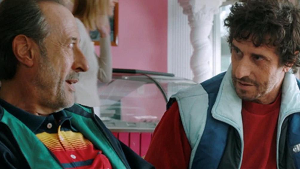 """Diego Peretti (en la foto con Guillermo Francella), en """"El robo del siglo"""""""