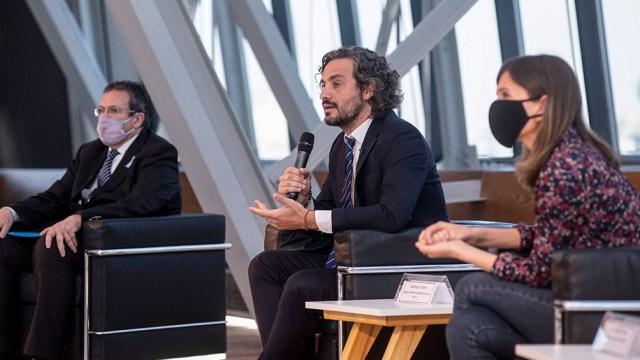 Bauer, Cafiero y Raverta hoy en el CCK en el anuncio de la ampliación del Plan Federal de Cultura.