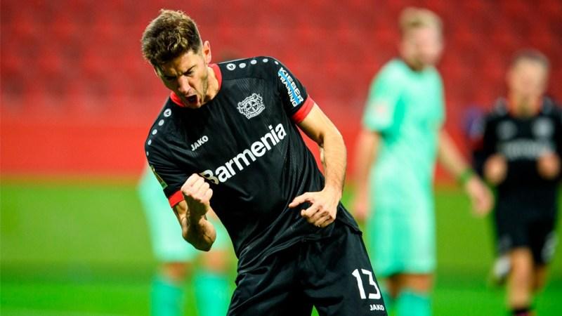 Lucas Alario convirtió siete goles en ocho fechas de la Bundesliga, uno en tres de la Liga de Europa y el grito restante fue en la Copa de Alemania.