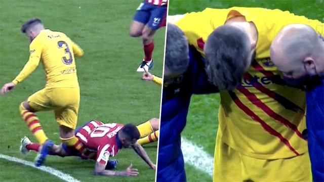 Piqué se lesionó en un choque con Ángel Correa.