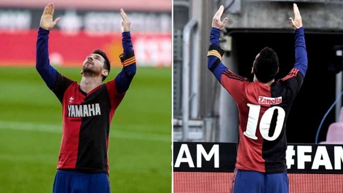 """Messi, en el 4-0 ante Osasuna sorprendió con la casaca de """"La Lepra"""". Ambos están ligados por Newells."""