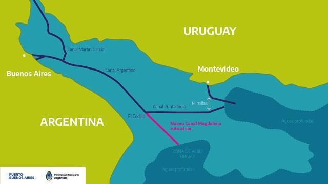 """""""El canal Magdalena es la salida natural del Río de la Plata"""", afirman los funcionarios y dirigentes consultados por Télam."""