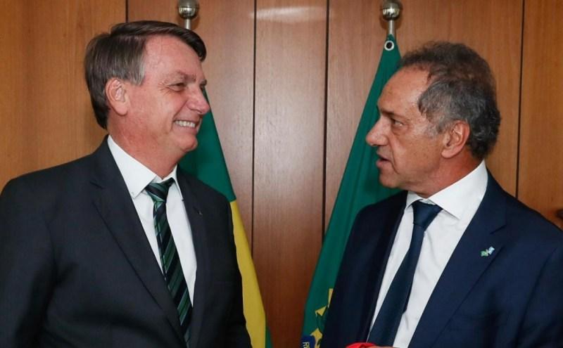 Daniel Scioli en una entrevista con Jair Bolsonaro del mes de enero.
