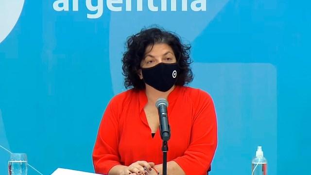 """La ministra Vizzotti advirtió que """"lLa Argentina está viviendo el peor momento de la pandemia iniciada el 3 de marzo del año pasado""""."""