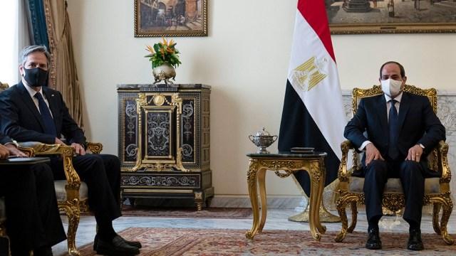 En El Cairo, se encontraron el secretario de Estado Antony Blinken y el mandatario de Egipto, Abdel Fatah Al Sisi.