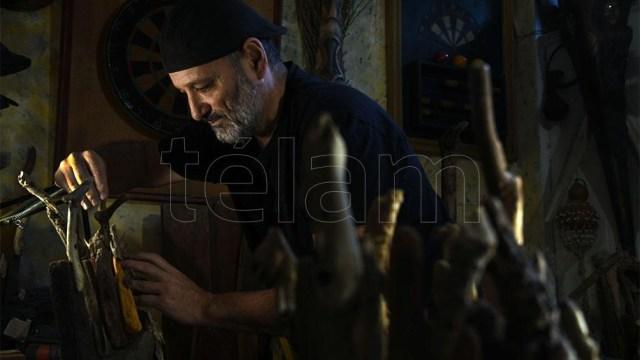 El taller de la casa de Belgrano donde Acuña crea sus obras. Foto: Daniel Davobe.