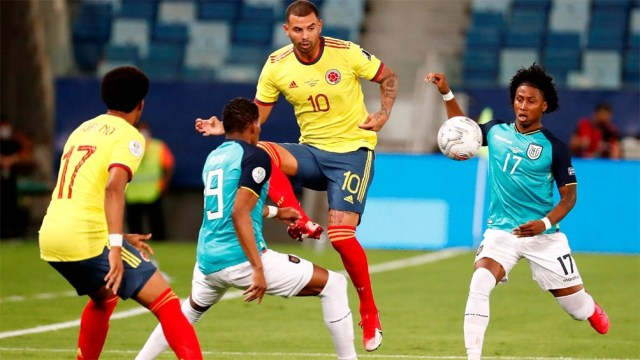Edwin Cardona abrió el marcador para Colombia frente a Ecuador con una gran jugada colectiva (foto: @CopaAmerica)