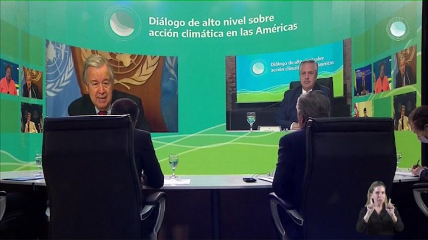 Elte martes, el Presidente participó de una reunión por teleconferencia con el secretario general de la ONU, António Guterres