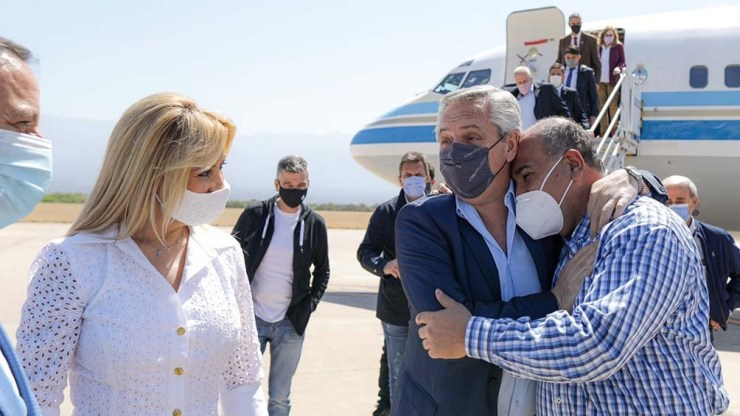 La llegada de Alberto Fernández a La Rioja. Foto: Presidencia.