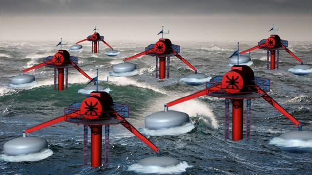 Una recreación de cómo se obtiene energía undimotriz gracias a las fuerzas de las olas. (Foto: UTN)