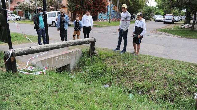 La zanja donde apareció el cuerpo de la víctima.Foto: Osvaldo Fanton