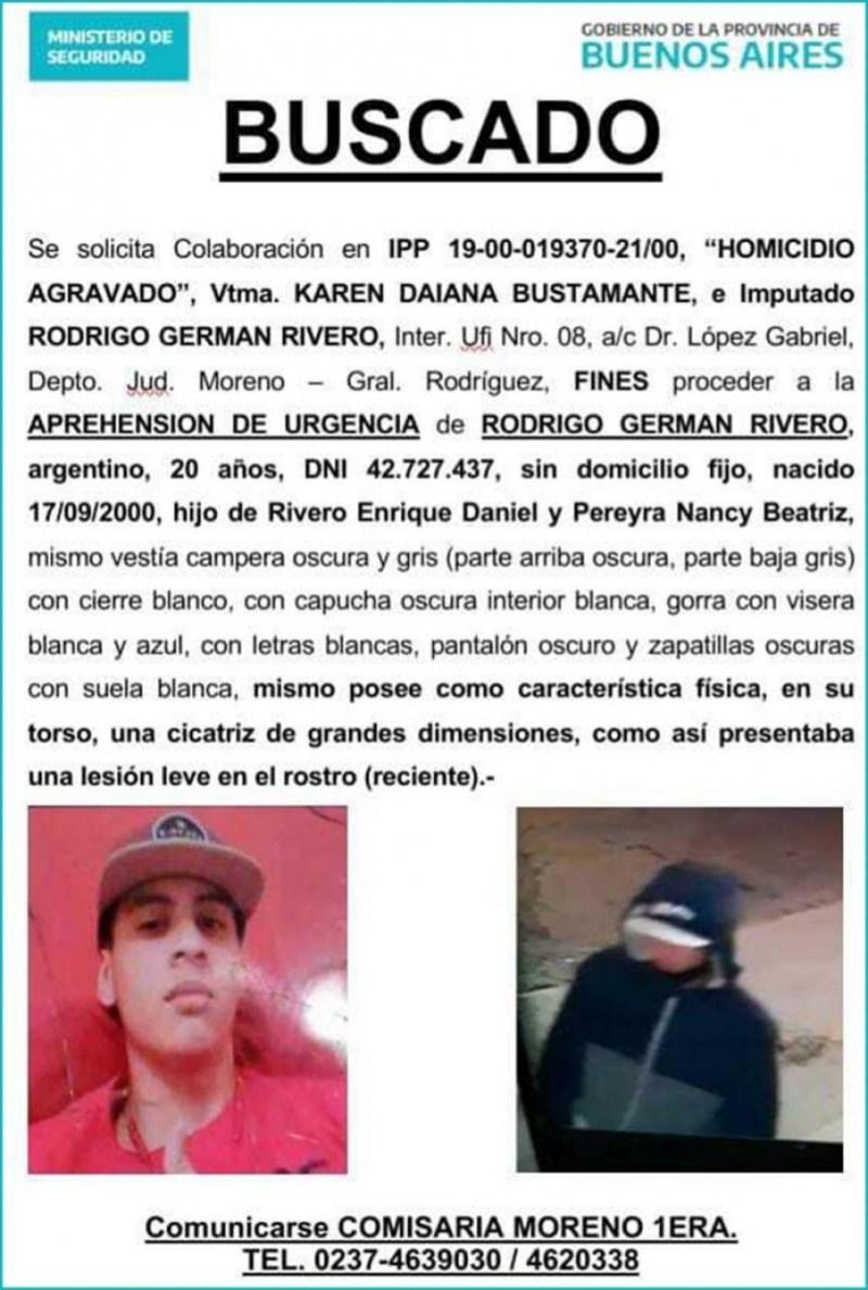 El acusado, Rodrigo Rivero, de 21 años, se encuentra prófugo.