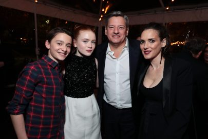 Noah Schnapp, Sadie Sink, Ted Sarandos, Chief Content Officer for Netflix, and Winona Ryder