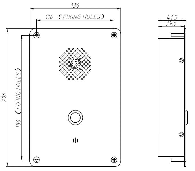 Vozell JR301-SC-IW Telefono de Emergencia