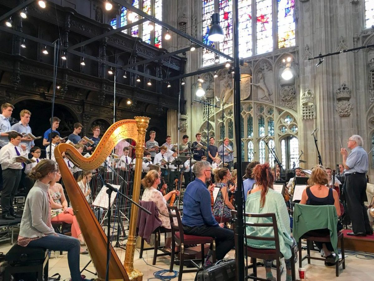 Pictured is a location recording utilizing TELEFUNKEN's ELA M 260 Tri-Mono microphones during a recording session at the chapel of King's College Cambridge.