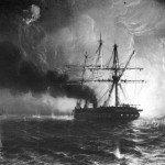 Attacco della pirofregata Garibaldi alle fortificazioni di Gaeta la notte dal 5 al 6 febbraio 1861. (Tempera del pittore Carlo Bossoli - 1861)