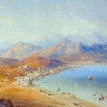 Il borgo di Gaeta ed il fronte di terra in una tempera del pittore Carlo Bossoli (1861). Nella rada, le unità navali partecipanti al blocco della piazzaforte
