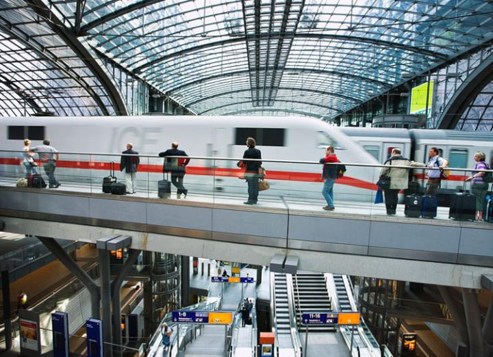 An ICE train arrives at Berlin Hauptbahnhof