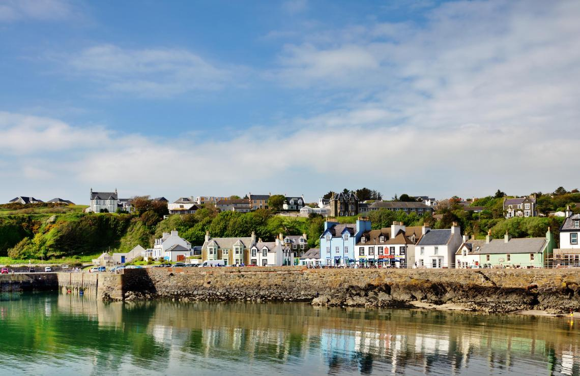 If given the go ahead, the 'Boris Bridge' may be built from Portpatrick (pictured) to Larne in Northern Ireland