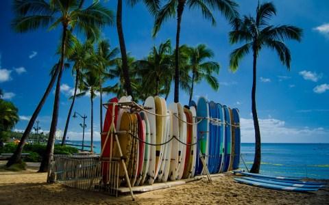 Surfboards on beahc, Oahu, Hawaii