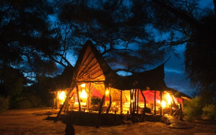 Elephant Watch Camp at night