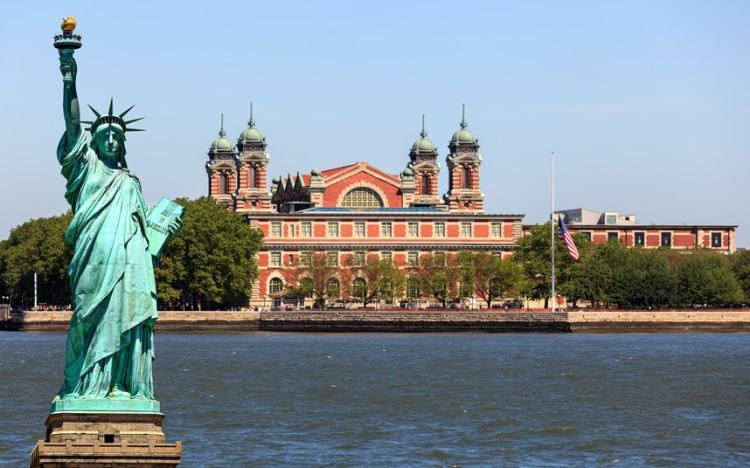 Image result for ellis island and statue of liberty