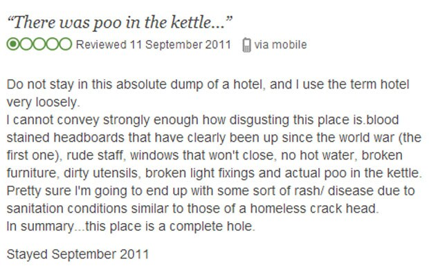 TripAdvisor the funniest reviews biggest controversies and best spoofs  Telegraph