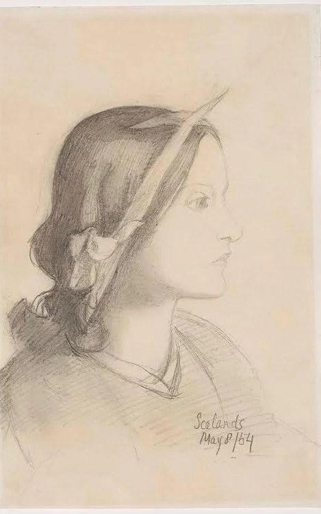 Dante Gabriel Rossetti, Profile Portrait of Elizabeth Siddal with Irises in her hair, 1854