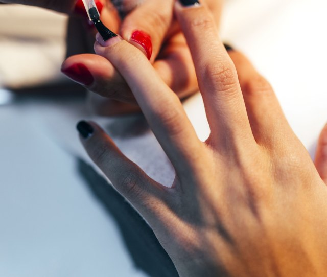 Manicure In Progress Red And Black Nails