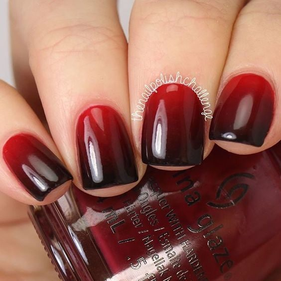 red black ombre nails spooky