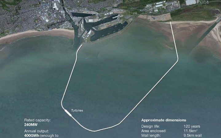 Artists impression of the Swansea Tidal lagoon