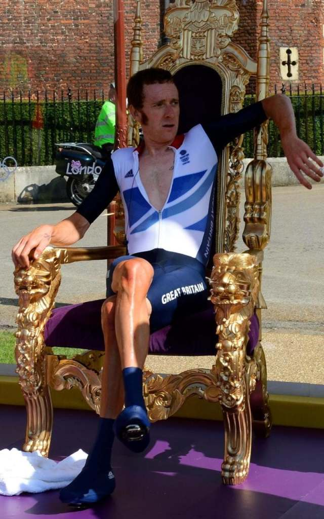 Wiggins on the mocked-up throne after winning gold at London 2012