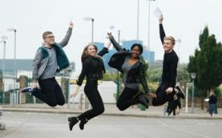 Ben Stevenson, Florence Harrison, Taiga Maneus and Joe Hall celebrate their A-level results at The Sheffield College, Hillsborough campus in Sheffield