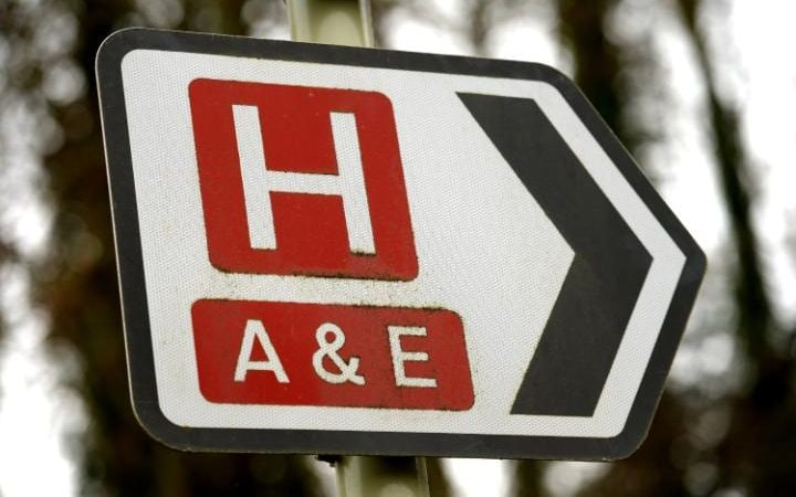 A sign for a hospital and A&E department