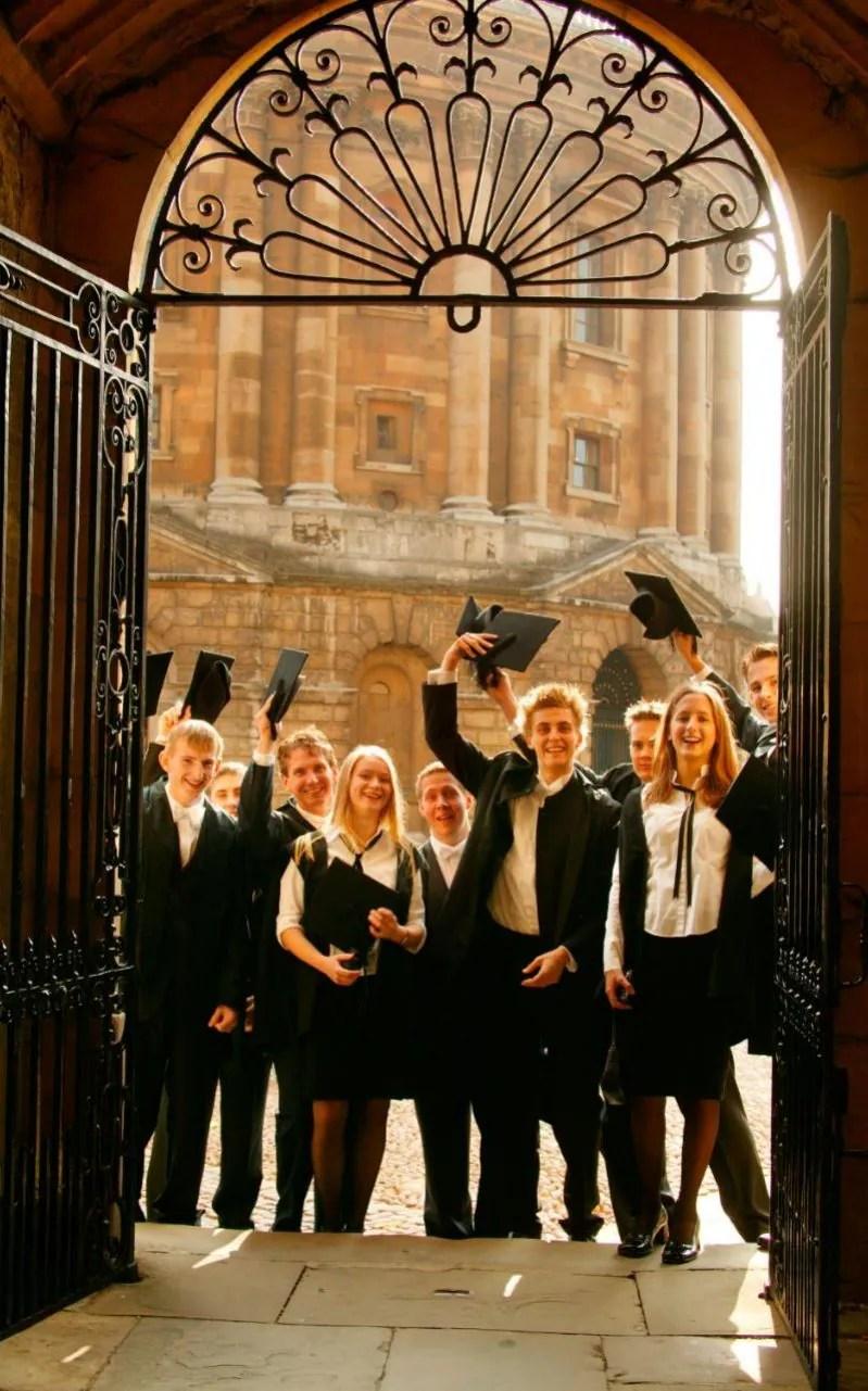 Oxford University students celebrating matriculation