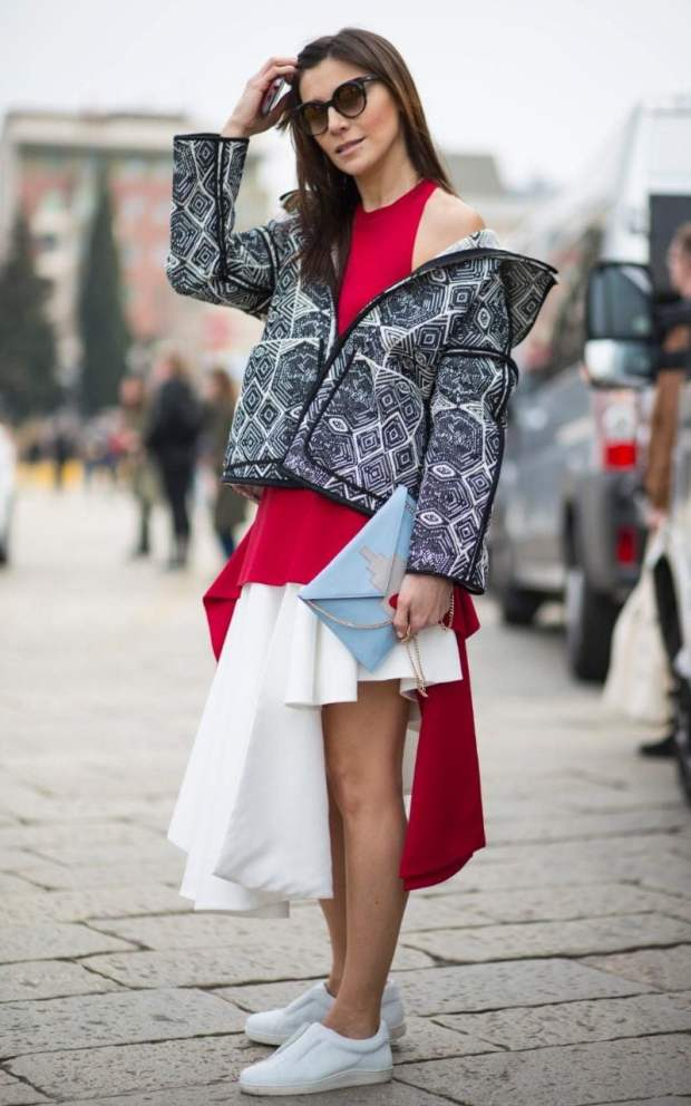 An asymmetric hemline is a sure-fire way to stay directional with minimal effort. Plus shrugging your jacket halfway down your arms could just be the new shoulder-robing...