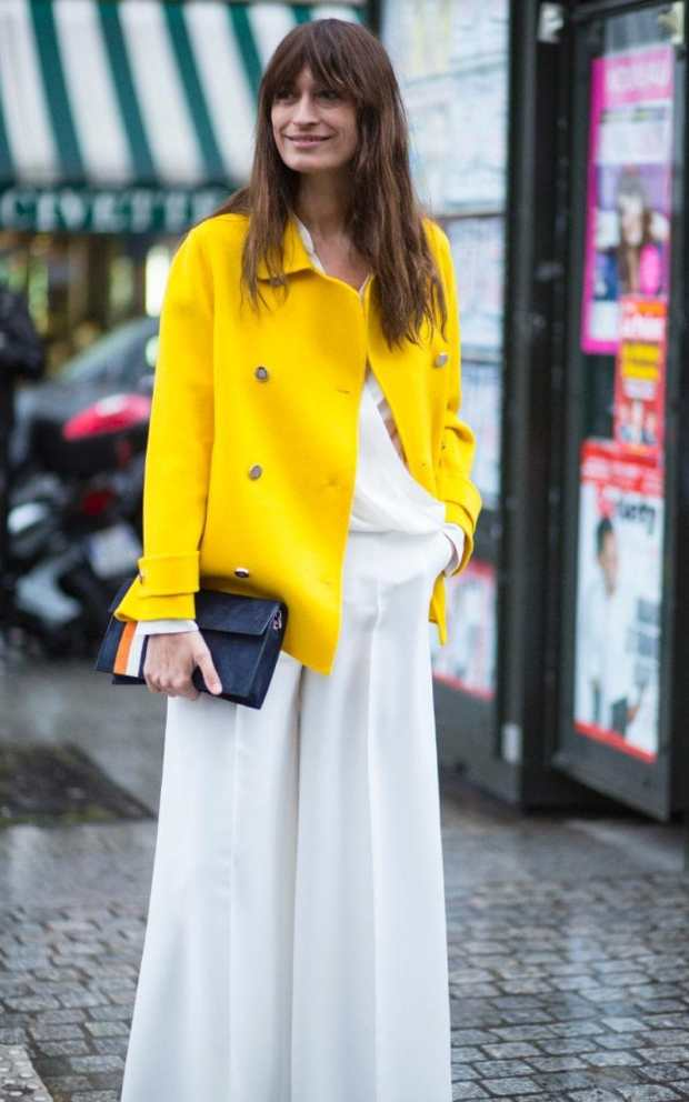 Caroline de Maigret swapped her usual grey coats for a vibrant yellow jacket