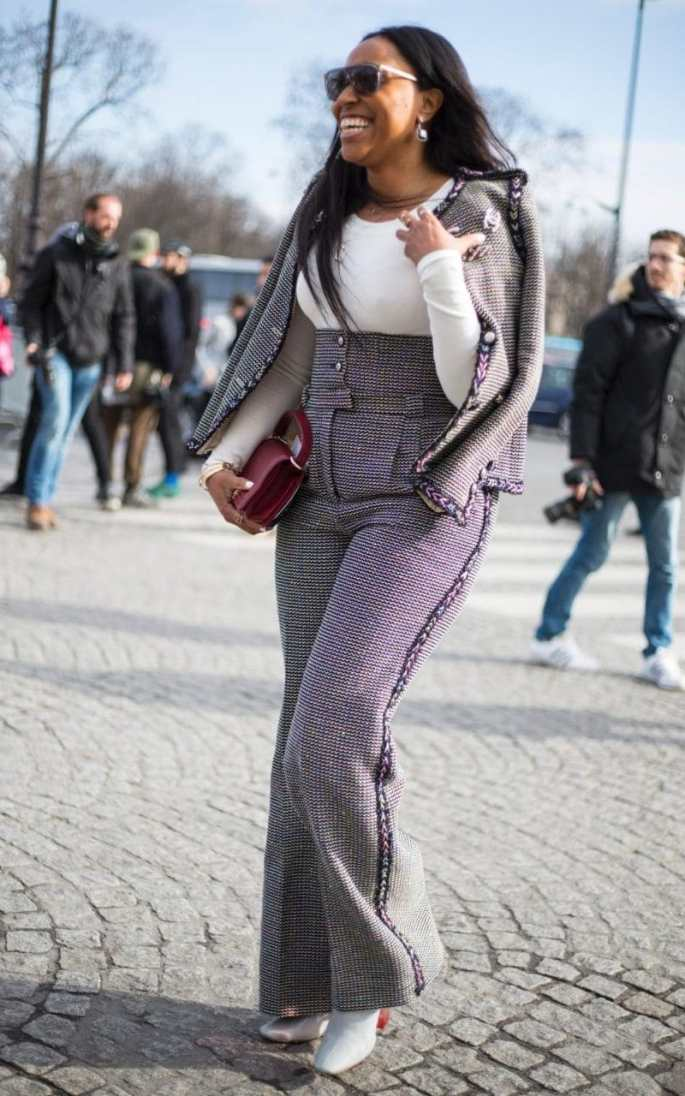 Shiona Turini wears high waisted Chanel tweed with a white top