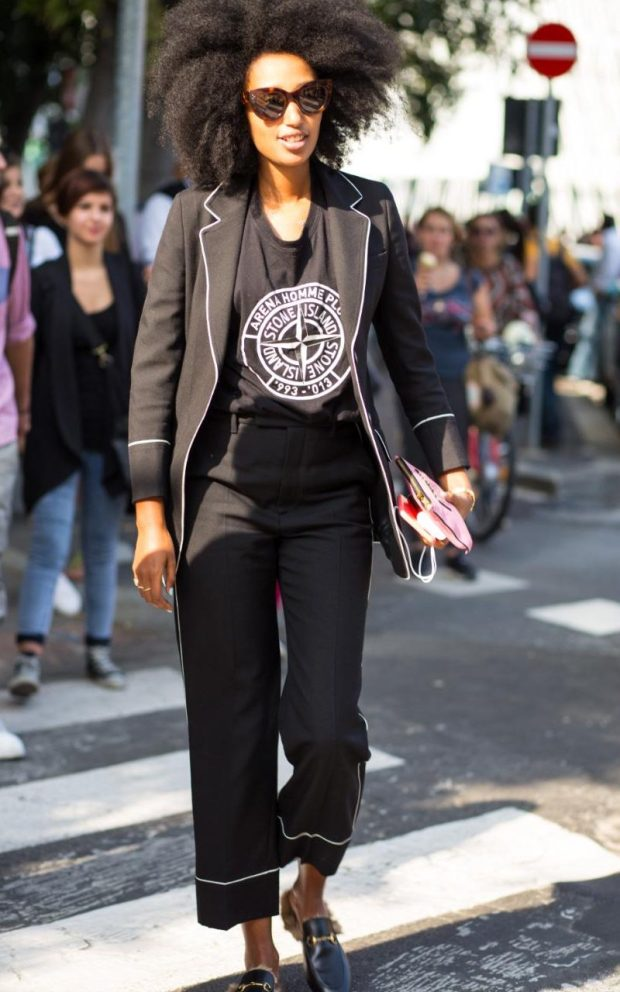 For a more low-key approach to PJ dressing, opt for a black suit with white piping