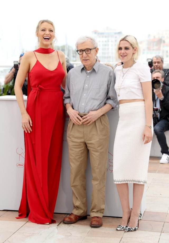 Blake Lively, director Woody Allen and Kristen Stewart at the Cannes Film Festival last year