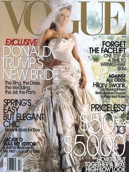 Caption:Melania Trump on the cover of Vogue in her wedding dress in February 2005