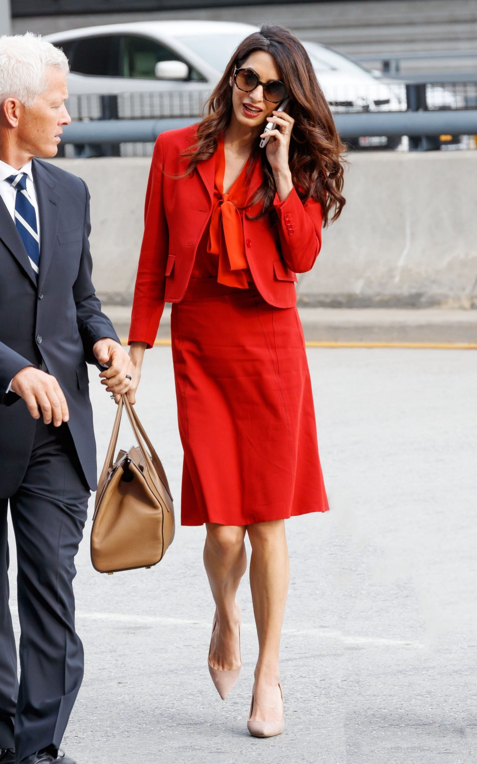 Amal Clooney wears Bottega Veneta returning to work at the UN