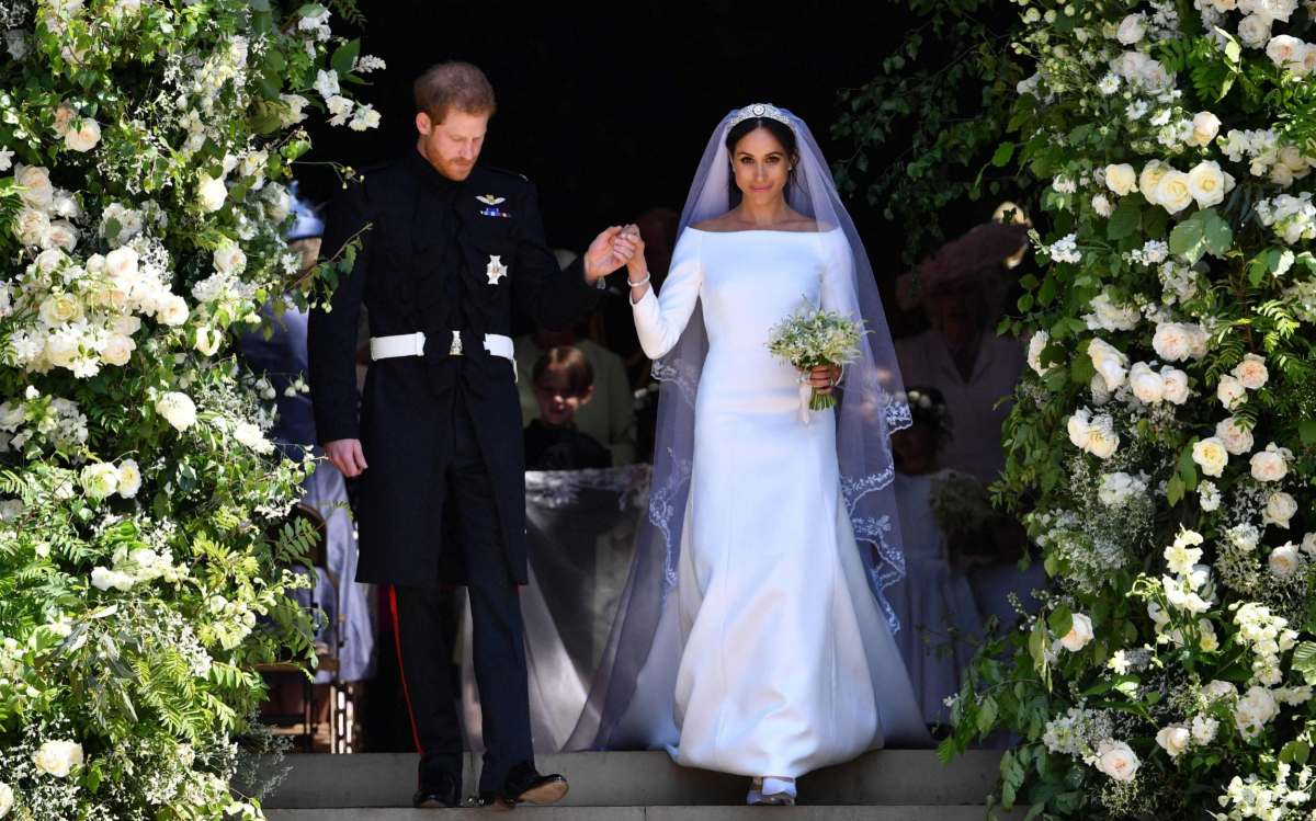 Harry and Meghan on their wedding day in May 2018