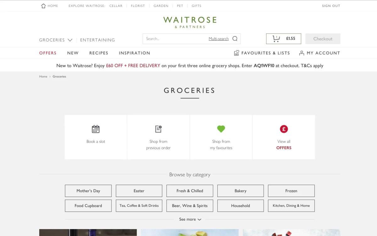 Waitrose online grocery delivery website