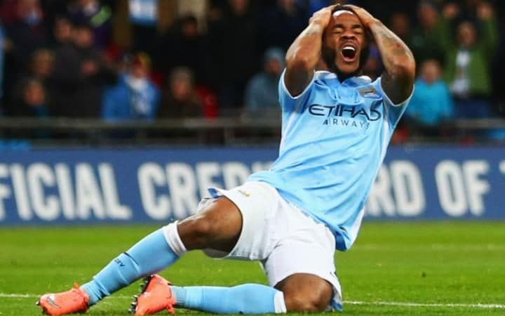 Raheem Sterling in the League Cup final for Manchester City against his old club Liverpool