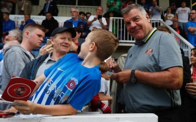 Sam Allardyce signs autographs at Hartlepool, where Sunderland played a pre-season friendly on Wednesday night