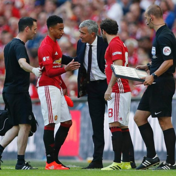 Juan Mata came on for Manchester United in the FA Community Shield in place of Jesse Lingard